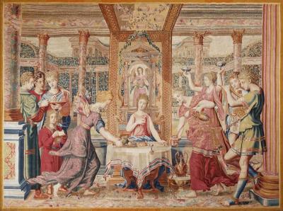 Atelier de Rapha l de la Planche 17th Century antique tapestry from Louis XIV Collection Le Repas de Psych