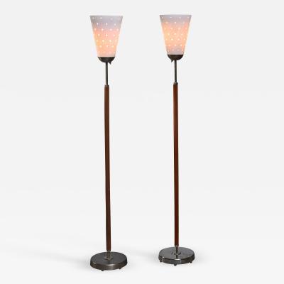 Atelje Lyktan Hans Bergstrom pair of brass and glass floor lamps Sweden