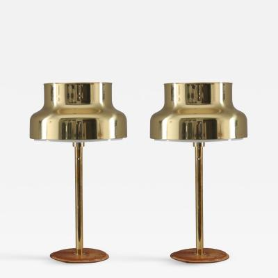 Atelje Lyktan Pair of Bumling Table Lamps in Brass and Leather by Atelj Lyktan