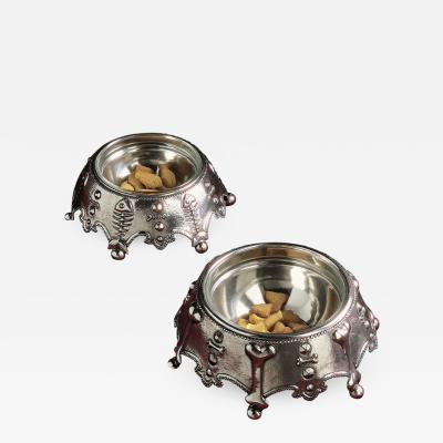 Atena Pewter Dogs and Cats Bowls
