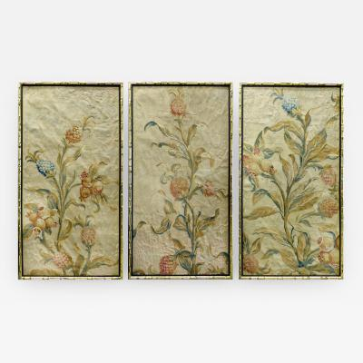 Aubusson 18th Century Floral Aubusson Panels Set of Three