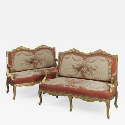 Aubusson A Small Pair of Louis XV Style Giltwood Canap s