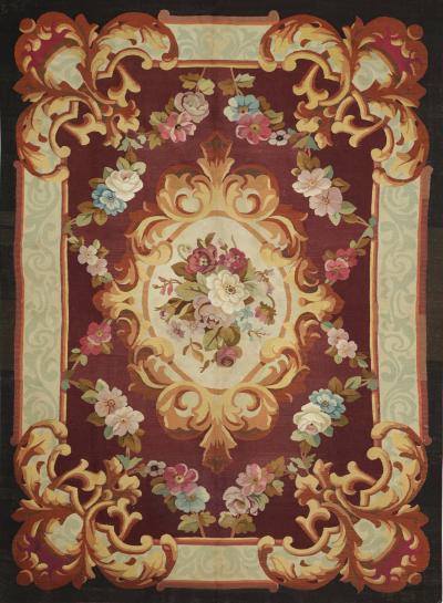 Aubusson Mid 19th Century Handwoven Antique Aubusson Rug
