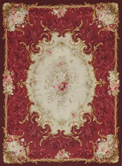 Aubusson Mid 19th Century Handwoven Antique Aubusson Wool Silk Rug
