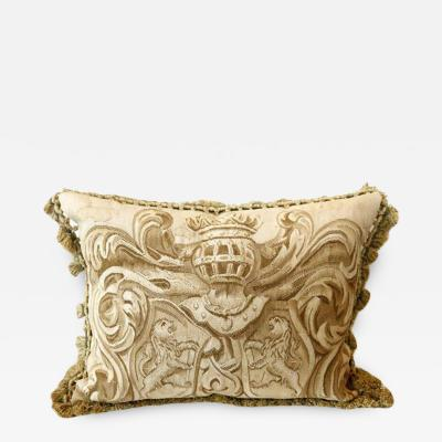 Aubusson Pair of Armorial with Lions Aubusson Pillows