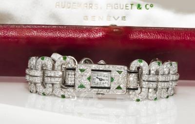 Audemars Piguet 1920s Egyptian Revival Audemars Piguet Platinum Diamond Emerald Onyx Watch