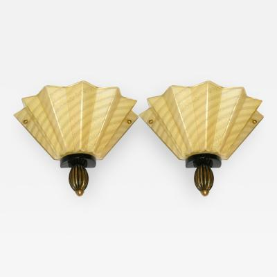 Aureliano Toso 1950s Aureliano Toso Pair of Gold Fan Shaped Murano Glass Sconces