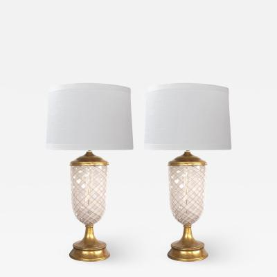 Aureliano Toso Pair of Murano Pink and White Lattacino Lamps by Dino Martens for Aureliano Toso