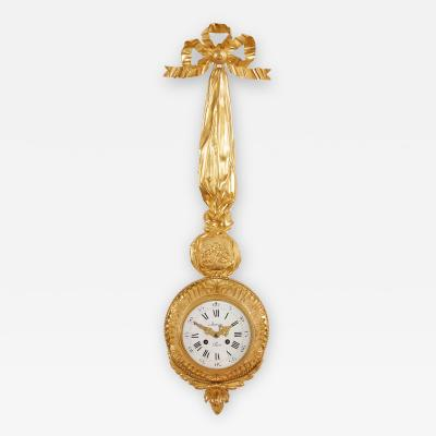 Autray Fils Antique French gilt bronze cartel clock by Autray Fils