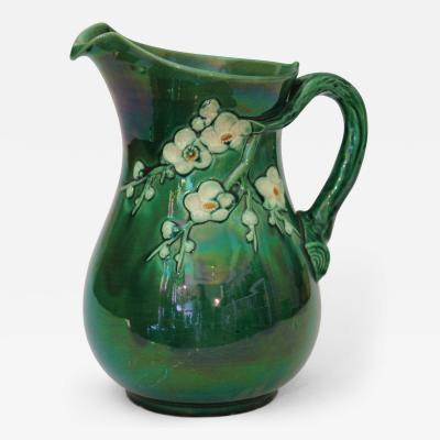 Awaji Pottery Awaji Pottery Pitcher with Branch Handle and Applied Plum Blossoms