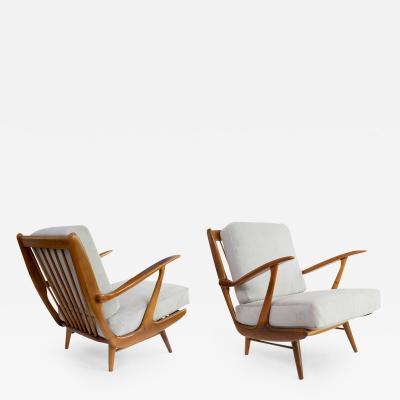 B Spuij s Dutch Mid Century Modern Carved Armchairs A