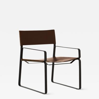 B TD 5 30 Lounge Chair Natural leather Steel Frame Tanned