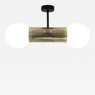 B TD Perf Double Pendant Light Brass Perforated Tube Glass Round Orb Shades