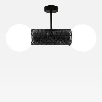 B TD Perf Double Pendant Light Matte Black Perforated Tube Glass Round Orb Shades