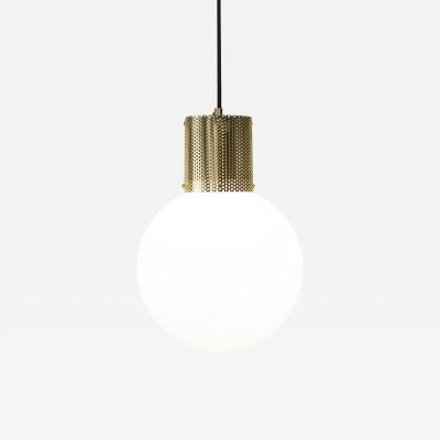 B TD Perf Pendant Light Large Brass Perforated Tube Glass Round Orb Shade