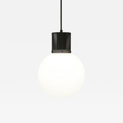 B TD Perf Pendant Light Large Matte Black Perforated Tube Glass Round Orb Shade