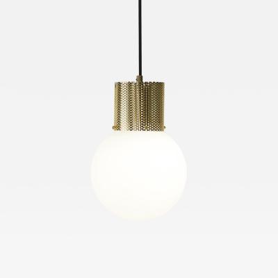 B TD Perf Pendant Light Medium Brass Perforated Tube Glass Round Orb Shade