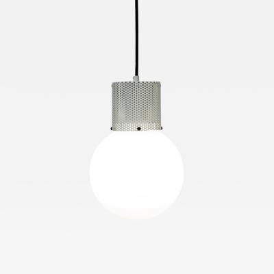 B TD Perf Pendant Light Medium Off White Perforated Tube Glass Round Orb Shade