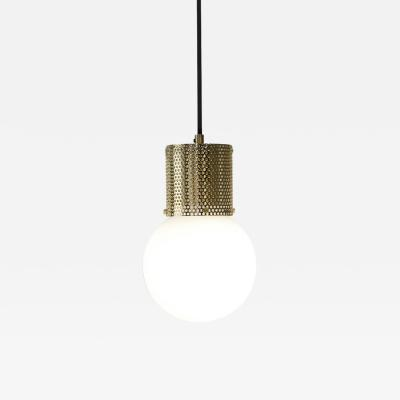 B TD Perf Pendant Light Small Brass Perforated Tube Glass Round Orb Shade