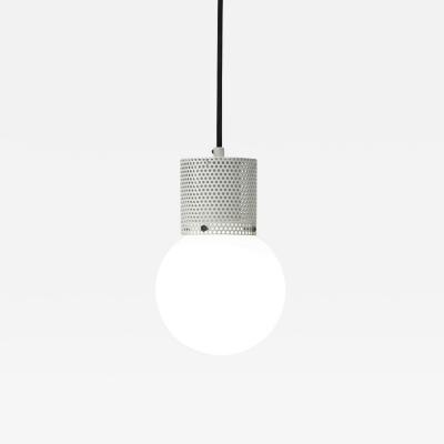 B TD Perf Pendant Light Small Off White Perforated Tube Glass Round Orb Shade