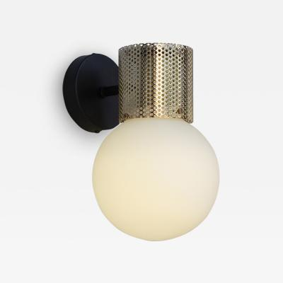 B TD Perf Wall Sconce Brass Perforated Tube Glass Round Orb Shade