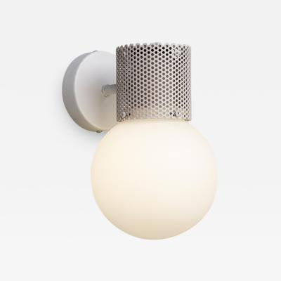 B TD Perf Wall Sconce Off White Perforated Tube Glass Round Orb Shade