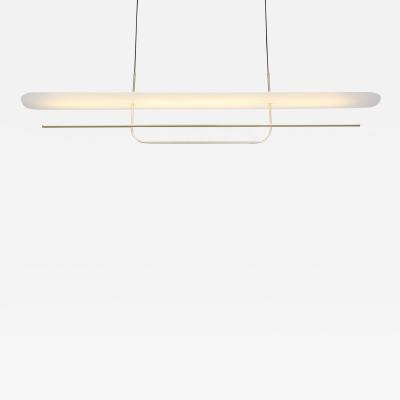 B TD Reflector Linear LED Anodized Aluminum Pendant Light Satin Gold White Shade