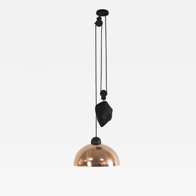 B TD Up Down Pendant Height Adjustable Light Copper Shade Obsidian Glass