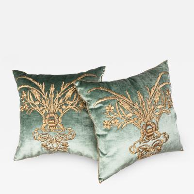 B VIZ Design Antique Ottoman Empire Raised Gold Embroidery E071721A B 21 x 21