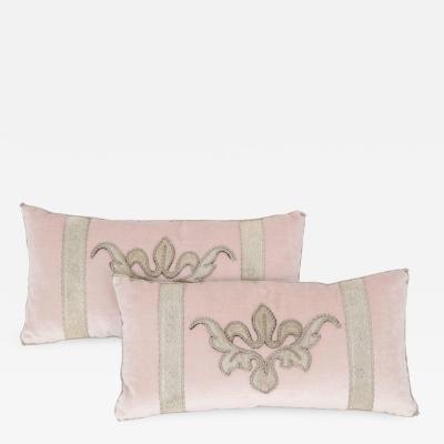 B VIZ Designs Pair of Blush Pink Velvet Pillows by B Viz Design