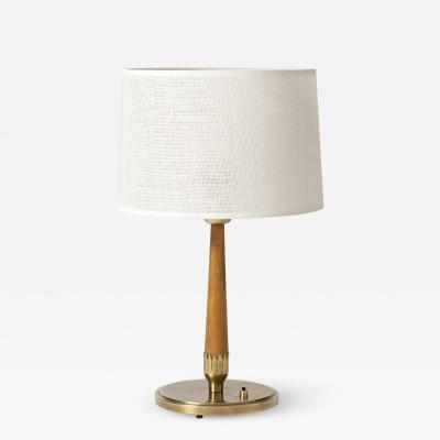 B hlmarks Brass and Beechwood Table Lamp by B hlmarks
