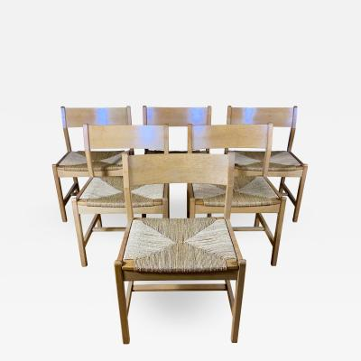 B rge Mogensen Borge Mogensen B rge Mogensen BM2 Oak Papercord Dining Chairs Denmark 1960s