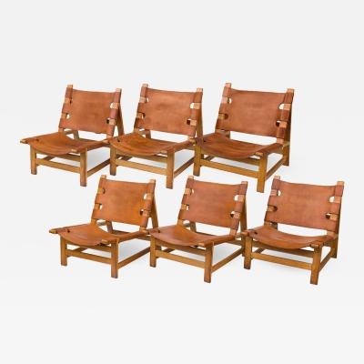 B rge Mogensen Borge Mogensen B rge Mogensen Oak and Leather Lounge Chairs Denmark 1960s