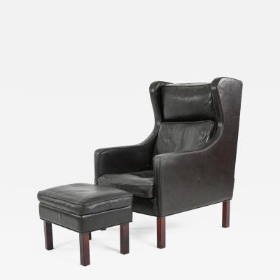 B rge Mogensen Borge Mogensen Borge Mogensen Leather Wingback Chair and Matching Footstool