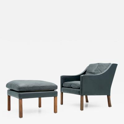 B rge Mogensen Borge Mogensen Danish Lounge Chair with Stool by B rge Mogensen in Black Leather 1960s