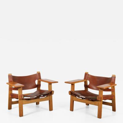 B rge Mogensen Borge Mogensen Pair of Spanish Chairs by B rge Mogensen for Fredericia Denmark 1960