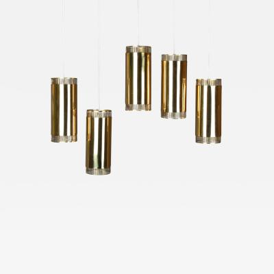 BOR NS BOR S Set of Five Swedish Pendants in Perforated Brass by Bor ns