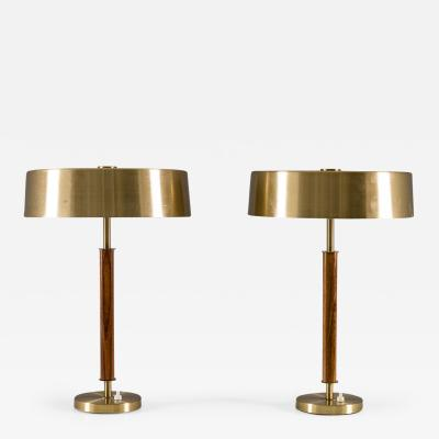 BOR NS BOR S Swedish Midcentury Table Lamps in Brass and Wood by Bor ns