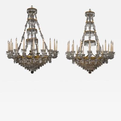 Baccarat An Important Pair of Eighteen Light Chandeliers