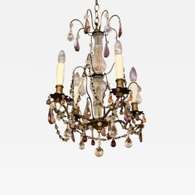Baccarat Antique Baccarat Petite French Crystal Chandelier With Murano Glass Beads