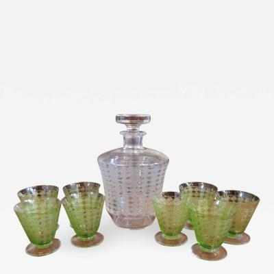 Baccarat Baccarat Art Deco Decanter and Green Glasses