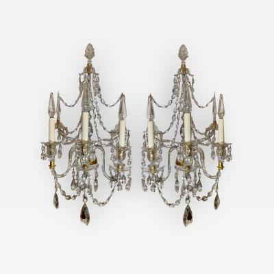 Baccarat Baccarat French Crystal Gilt Bronze Wall Light Sconces a Pair