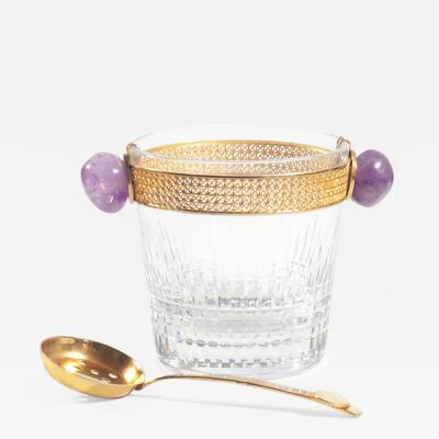 Baccarat Baccarat Nancy Crystal and Gilt Ice Bucket and Gilt Ladle
