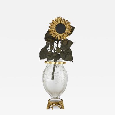 Baccarat Baccarat engraved crystal sunflower form mantel clock