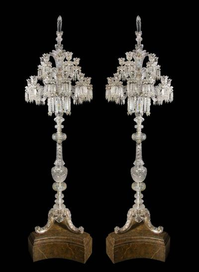 Baccarat Cristalleries De Baccarat A Large Pair of French Cut Crystal 18 Light Torcheres