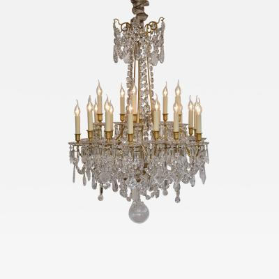 Baccarat Gilt bronze French Baccarat chandelier style Louis XVI