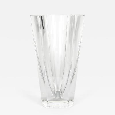 Baccarat Large Art Deco Baccarat Facet Cut Crystal Vase