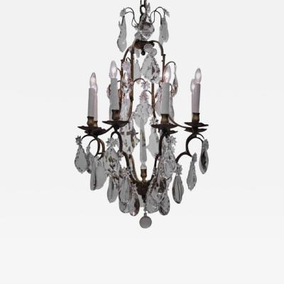 Baccarat Louis XV Style Eight Light Bronze and Crystal Chandelier