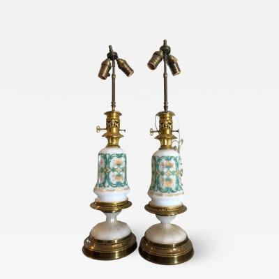 Baccarat Pair of Antique Baccarat French Opaline Glass Designer Table Lamps