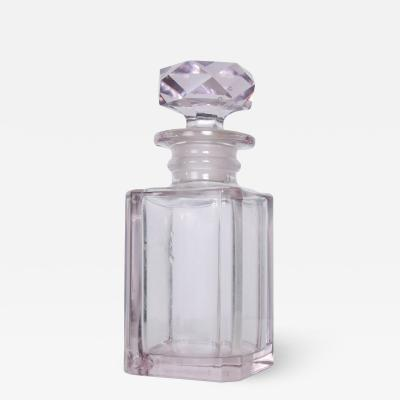 Baccarat Shimmering Pale Pink Cut Glass Perfume Bottle Faceted Stopper Style of Baccarat
